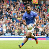 July 27, 2014 - Rugby Sevens - Samoa vs. England in the Quarter finals during the Rugby Sevens at the 20th Commonwealth Games in Glasgow, Scotland.<br /> <br /> Lio Lolo (#4) of Samoa making a run on the goal before passing the ball.<br /> <br /> Final score of the game was Samoa 15 and England 14.<br /> <br /> If you have any questions don't hesitate to reach out to us!<br /> <br /> Thanks!<br /> <br /> Photos by Al Milligan, Al Milligan Images, 2014
