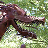 Giant metal dragon head sculpture at Jurustic Park in Marshfield, Wisconsin