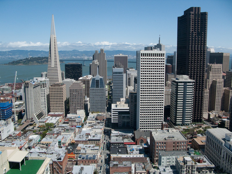 Downtown San Francisco, the Transamerica Building, the Bay Bridge, from the top of the Fairmont Hotel