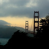 Golden Gate Bridge, sunset over the Marin headlands.