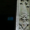 ... with carved wooden doorposts