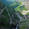 Trollstigen also plunges down -- it has a 10% incline and eleven hairpin turns
