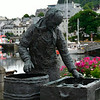 Statue of fish seller in Ålesund