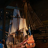 Model of the Vasa with Vasa and its rigging beyond