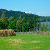 View over hay field at Jamtl -- hay on a rick in old style