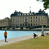 Front view  of Drottningholm Palace with statuary
