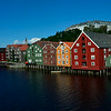 Trondheim's Bryggen -- colorful warehouses reflected in canal