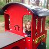 """Scarlett driving the train to the """"hopsital"""" to see mummy and the babies... 5 days after Orlando and Sebastian were born. Boronia Park - Epping"""