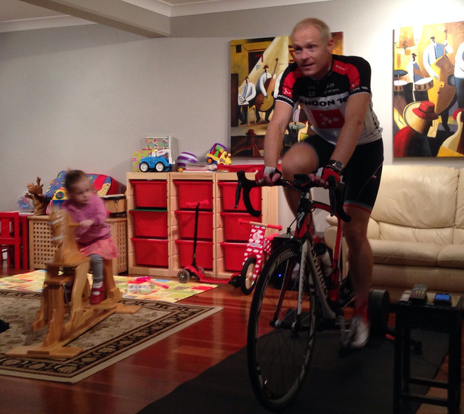 Scarlett training with daddy on a Paris-Nice training video... Won't be long until the real thing! Easter 2014 (Age 2 Years)