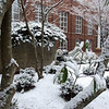 Snow day: the lower courtyard of the Lenfest Center.