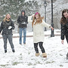 Snow day: Sara Holland '17, Austin Barker '17, Leah Smith '17 and Camille Hunt '17 on the front campus.