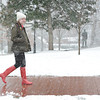 Snow day: Emily Webb '17 enjoys a walk.