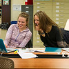 Kinsey Grant '17 and Barbara Bent '16 working together in the library.