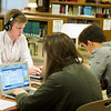 Will Brown '16 studying in the library with friends.
