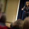 Nancy Lieberman, former Olympic basketball player and WNBA coach, speaks in Stackhouse Theater.