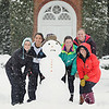 Patricia Kirkland '15, Kelsey Vella '15, Charlotte Magee '15, Lucy Smith '15, and Brooke Donnelly '17 in the snow on the front lawn.