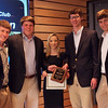 Venture Club pitch competition winners Aaron Digregorio, Kathleen Yakulis and Jonathan Cahill, flanked by Venture Club officers Max Farrington and Mark Sowinski. All are member of the Class of 2014.