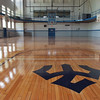 The newly refinished floor in old Doremus Gym.