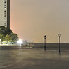 Battery Park City at the North Cove during Hurricane Sandy. Looong exposure. Notice any flooding? Gasp!