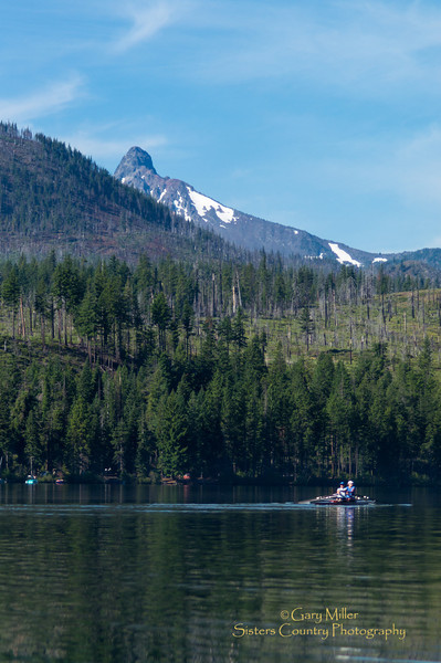 Rowing shell under Mt. Washington on Suttle Lake in Sisters Country, Central Oregon - Gary N. Miller - Sisters Country Photography