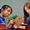 """Sneha Varanasi answer a question during 7th grade literature class studying the book """"The Devil's Arithmetic"""" at the Broomfield Academy on Thursday.<br /> January 10, 2013<br /> staff photo/ David R. Jennings"""