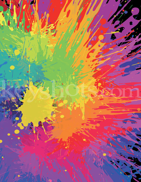 8 5x11 Colourful Bright Ink Splat R