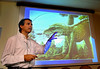 "Brazilian researcher Mario Nicoll speaks to journalists during the presentation of ""Adamantinasuchus navae"", a terrestrial crocodylomorph,  at Geology department of Rio de Janeiro's Federal University, Rio de Janeiro, Brazil, April. 17, 2007. The fossil was found recently in the construction site of a dam in Marilia, in the state of Sao Paulo. The new species, whose morphology is unique among terrestrail crocodylomorphs, measured 50 cms and weighed 10 Kg. It lived around 90 million years ago in the southeastern region of Brazil. (Austral Foto/Renzo Gostoli)"