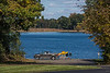 D284-2014  Autumn at Portage Lake<br /> Looking toward the boat launch ramp from the parking lot.<br /> <br /> Waterloo Recreation Area, Jackson County, Michigan<br /> October 11, 2014