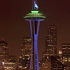 Space Needle in Seahawks colors (20013/2014 football season)