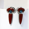 Kim Cevora Red Jasper and Blue Topaz Hinged Dangle with 14K Ball accents