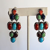 Multistone and Sterling Clip Dangle Earrings