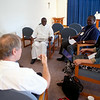 Deacon candidates from the Archdiocese of Nassau give practice homilies and receive feedback.