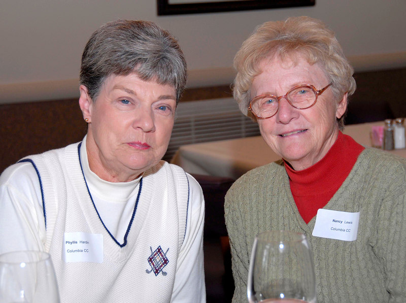 Mrs. Phyllis Hardin and Mrs. Nancy Lewis enjoy the evening with friends