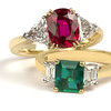 Emerald And Ruby Ring Group by David Katz