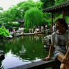 Gazing out at the beautiful garden pond at Yu Yuan