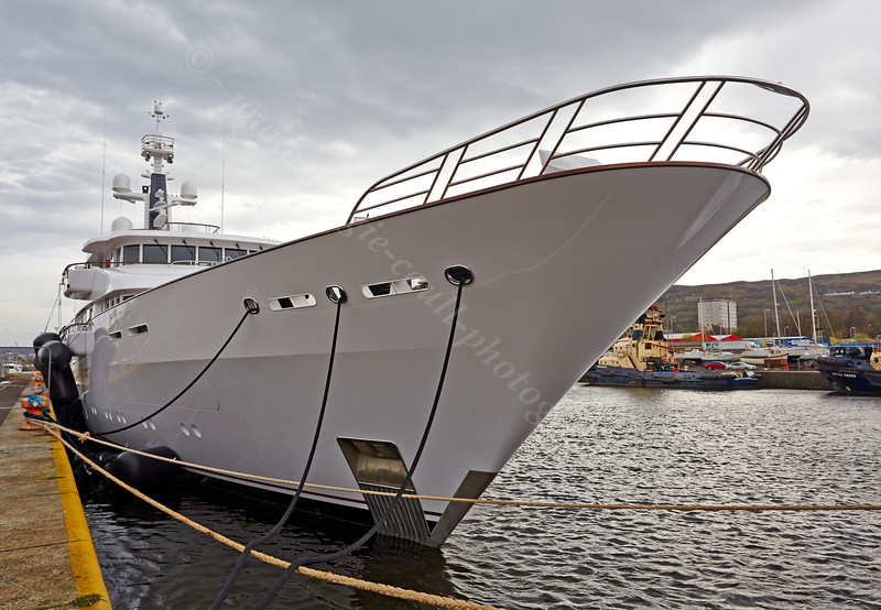 Superyacht Hampshire II in James Watt Dock - 17 April 2014