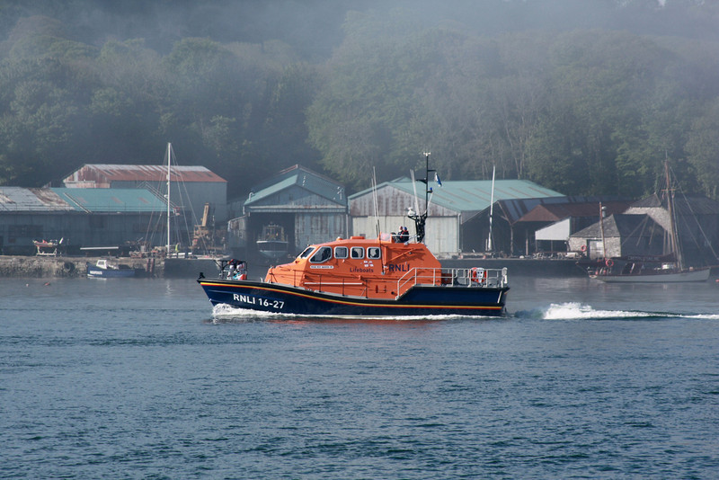 "Tamar Class 16-27 ""RNLB Roy Barker IV"" - The Mumbles Lifeboat - On trials heading down the River Tamar 16.05.13"
