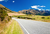 Scenic mountain road in the South Island of New Zealand