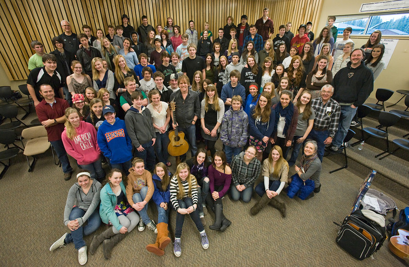 Martyn Joseph gives a workshop in songwriting to students in the Americana Project at Sisters High School, Thursday, February 9, 2012.