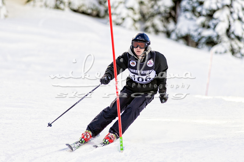 Stephen Hiser of Sherwood High School shown competing in a Three Rivers League Slalom Race on 2/1/2014 at Mt Hood Meadows.