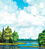 stock-illustration-22692317-summer-landscape-with-forest-trees-lake