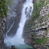 Savica waterfall flows into Lk Bohinj