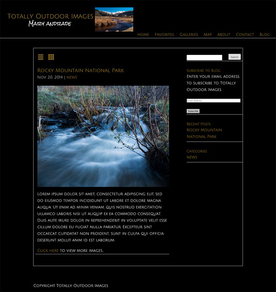 """Totally Outdoor Images<br /> Colorado Nature and Wildlife Photography<br /> <a href=""""http://totallyoutdoorimagesblog.info/"""">http://totallyoutdoorimagesblog.info/</a><br /> SmugMug Customization and Wordpress theme by jrcustomization.com"""