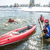Staff members and graduate students from the Water and Environmental Research Center (WERC) and the Institute of Northern Engineering (INE) receive swiftwater rescue and safety training in the Chena River.