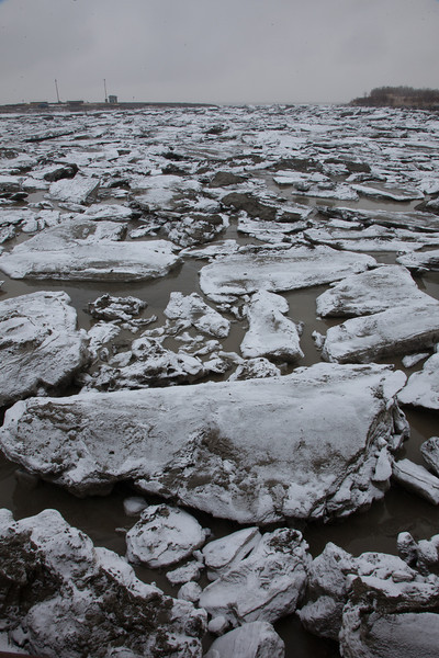 Ice chunks clog up the bay leading to Dillingham's primary boat harbor during breakup in late April.