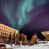 The aurora borealis floats above the Gruening Building and the rest of the Fairbanks campus.