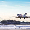 Joy, the name of the 727 jetliner donated by FedEx to UAF's aviation program, lands at Fairbanks International Airport on its final flight.