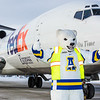 The Nanook was on hand at the Fairbanks International Airport to welcome Joy, the name of a 727 jet recently donated by FedEx to UAF's aviation program.