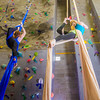 Undergraduates Miriam Brooks, left, and Teal Rogers practice their silk climbing skills in the SRC.