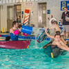 Battleship is a popular intramural sport at UAF. Teams in canoes try to swamp each other's boats during a tournament in the Patty pool.